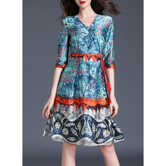 Polyester With Print Knee Length Dress (199127164)