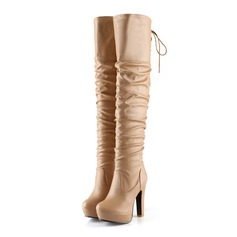 Women's Leatherette Chunky Heel Platform Over The Knee Boots With Ruched Braided Strap shoes