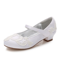Girl's Round Toe Closed Toe Mary Jane Silk Like Satin Low Heel Flower Girl Shoes With Velcro Applique Embroidery