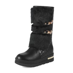 Women's Leatherette Wedge Heel Closed Toe Boots Mid-Calf Boots With Rivet Buckle Fur shoes