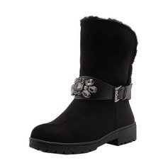 Women's Suede Low Heel Closed Toe Boots Mid-Calf Boots Snow Boots With Rhinestone Buckle shoes