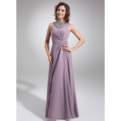 A-Line/Princess Scoop Neck Floor-Length Chiffon Mother of the Bride Dress With Ruffle Beading