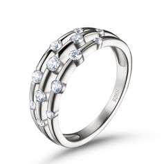Round Cut 925 Silver Women's Bands