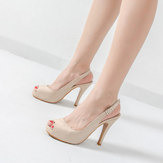 Kvinnor Lackskinn Stilettklack Pumps Plattform Peep Toe Slingbacks skor (087122539)