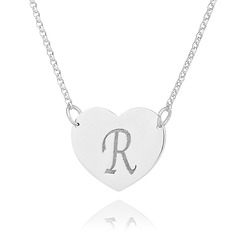Custom Sterling Silver Engraving/Engraved Letter Heart Necklace Initial Necklace - Birthday Gifts Mother's Day Gifts