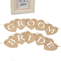 Bride and Groom Hemp Rope/Linen Banner