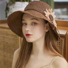 Ladies' Exquisite/Hottest Raffia Straw With Silk Flower Beach/Sun Hats/Tea Party Hats