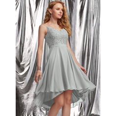 A-Line V-neck Asymmetrical Chiffon Homecoming Dress With Beading