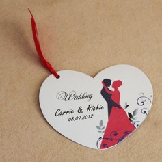 Personalized Bride And Groom Paper Invitation Cards With Ribbons