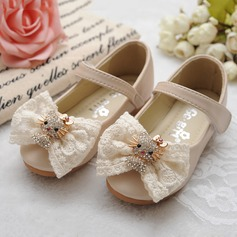 Girl's Closed Toe Real Leather Flat Heel Flats Flower Girl Shoes With Bowknot