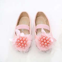 Girl's Leatherette Flat Heel Closed Toe Flats With Beading Bowknot