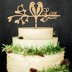 Wood Cake Topper (Set of 2)
