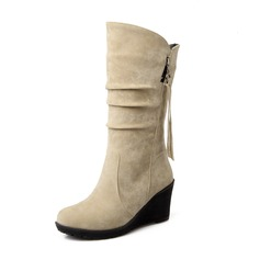 Women's Suede Wedge Heel Closed Toe Wedges Mid-Calf Boots shoes (088094820)