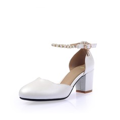 Women's Leatherette Chunky Heel Closed Toe Pumps With Buckle Imitation Pearl