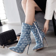 Women's Denim Stiletto Heel Pumps Boots With Zipper shoes