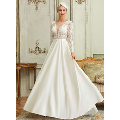Ball-Gown/Princess Illusion Sweep Train Satin Lace Wedding Dress