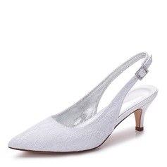 Women's Lace Silk Like Satin Kitten Heel Closed Toe Slingbacks With Rhinestone