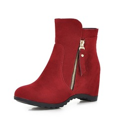 Women's Suede Wedge Heel Wedges Boots Ankle Boots With Zipper shoes