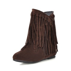Women's Suede Low Heel Ankle Boots With Tassel shoes