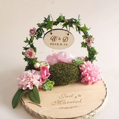 Personalized Wood Ring Holder With Artifical Flower