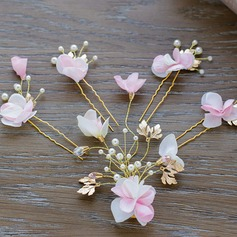 Ladies Exquisite Alloy/Imitation Pearls/Silk Flower Hairpins (Set of 5)