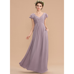 V-neck Floor-Length Chiffon Bridesmaid Dress With Cascading Ruffles Pockets (266197924)