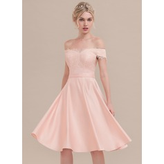 A-Line/Princess Off-the-Shoulder Knee-Length Satin Cocktail Dress With Beading Sequins