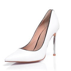 Real Leather Patent Leather Stiletto Heel Pumps Closed Toe shoes