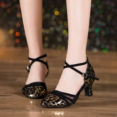 Women's Leatherette Mesh Ballroom Dance Shoes