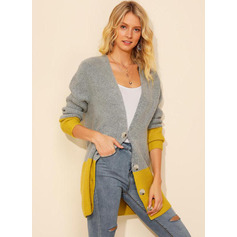 Color Block Acrylic Cardigans Sweaters (1002223228)