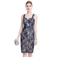 Sheath/Column Sweetheart Knee-Length Lace Cocktail Dress With Bow(s)