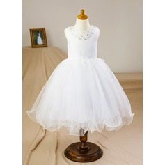 Ball Gown Knee-length Flower Girl Dress - Satin/Tulle Sleeveless Scoop Neck With Beading/Bow(s)