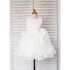 A-Line/Princess Knee-length Flower Girl Dress - Satin/Tulle Sleeveless Scoop Neck With Ruffles/Lace/Beading