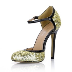 Patent Leather Sparkling Glitter Stiletto Heel Pumps Closed Toe With Buckle shoes
