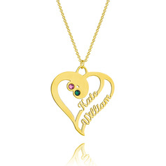 [Free Shipping]Custom 18k Gold Plated Silver Two Name Necklace Heart Necklace Birthstone Necklace