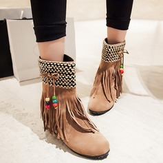 Women's Suede Low Heel Platform Mid-Calf Boots With Hollow-out shoes