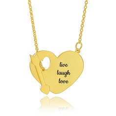 Custom 18k Gold Plated Silver Engraving/Engraved Heart Necklace With Arrow - Birthday Gifts Mother's Day Gifts