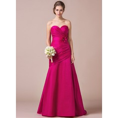 Trumpet/Mermaid Sweetheart Sweep Train Taffeta Bridesmaid Dress With Ruffle Beading Flower(s)