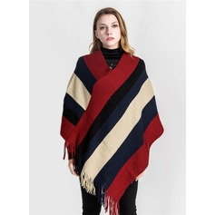 Striped Oversized/fashion Acrylic/Artificial Wool Poncho