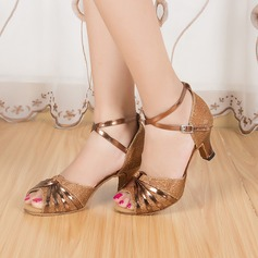 Women's Sparkling Glitter Heels Sandals Latin With Animal Print Dance Shoes