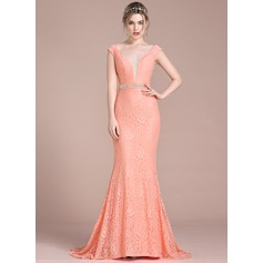 Trumpet/Mermaid V-neck Sweep Train Lace Prom Dresses With Beading