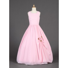 Ball Gown Floor-length Flower Girl Dress - Chiffon Sleeveless Scoop Neck With Ruffles/Flower(s)