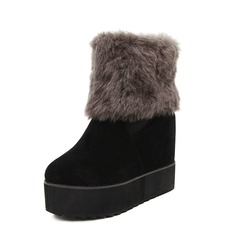 Women's Suede Wedge Heel Pumps Platform Closed Toe Wedges Boots Ankle Boots With Fur shoes