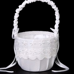 Beautiful Flower Basket in Lace With Bow/Lace/Flower
