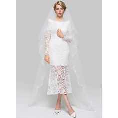 Two-tier Scalloped Edge Cathedral Bridal Veils With Embroidery/Faux Pearl/Sequin