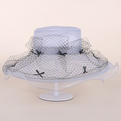 Elegant Organza With Silk Flower Floppy Hat