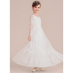 Floor-length Flower Girl Dress - Lace Long Sleeves V-neck (269193731)