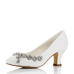 Women's Canvas Chunky Heel Closed Toe With Rhinestone Chain