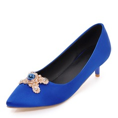 Women's Fabric Low Heel Closed Toe With Imitation Pearl shoes