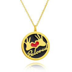 Custom 18k Gold Plated 3D Engraved Necklace Circle Necklace With Heart - Birthday Gifts Mother's Day Gifts